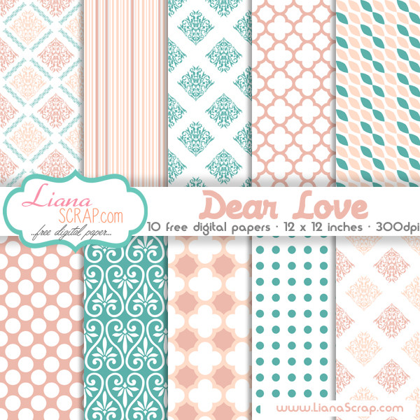 Free Digital Paper Pack Dear Love Set Lianascrap