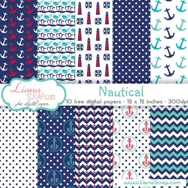 Free Digital Paper Pack Nautical Set Lianascrap