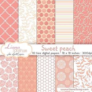 Free digital paper pack – Sweet Peach Set