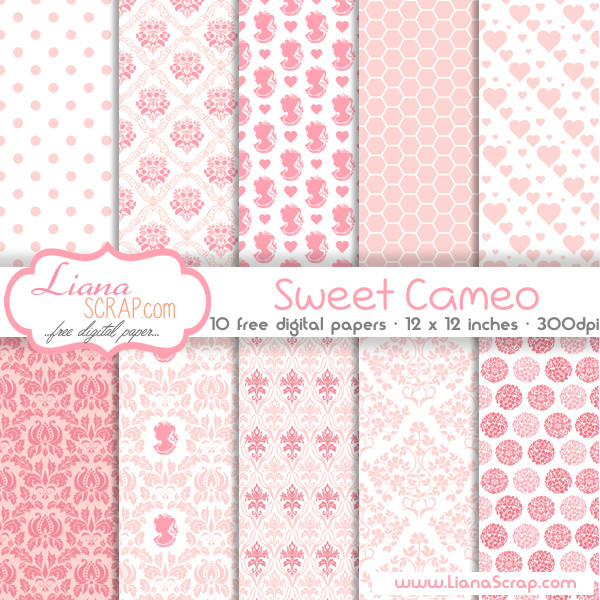 Free Digital Paper Pack Sweet Cameo Set Lianascrap