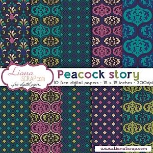 Free digital paper pack – Peacock Story Set