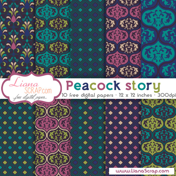 Free digital paper pack – Peacock Story Set
