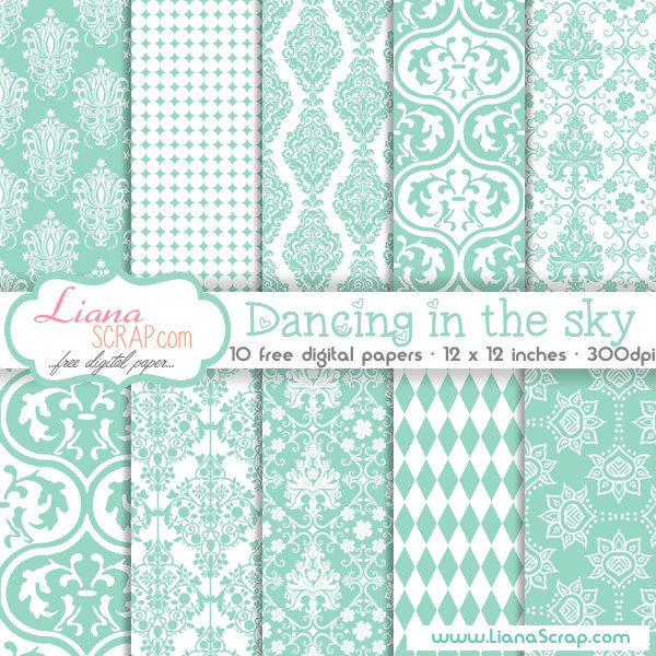 Free digital paper pack – Dancing In The Sky Set