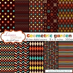 Free digital paper pack – Geometric Garden Set