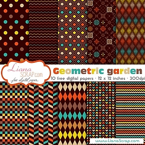 Free geometric digital paper – Geometric Garden Set