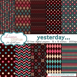 Free geometric digital paper – Yesterday Set