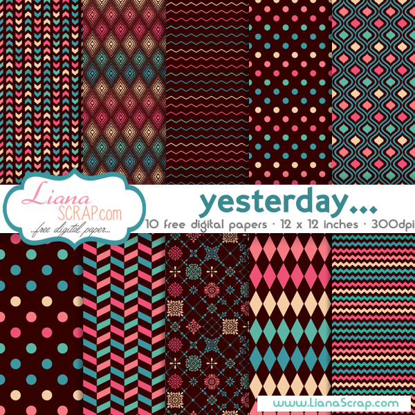 Free digital paper pack – Yesterday Set