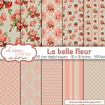 Free digital paper pack – La Belle Fleur Set