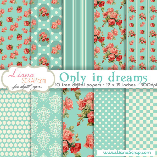 Shabby Chic free digital paper – Only In Dreams